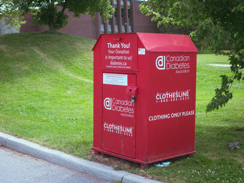 Clothing bin, a donation con